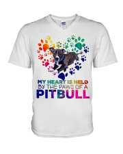 My heart is held by the paws of a pitbull V-Neck T-Shirt thumbnail