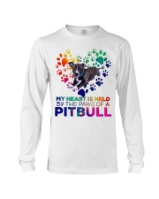 My heart is held by the paws of a pitbull Long Sleeve Tee thumbnail