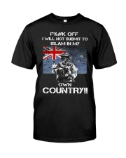 Fuck off I will not submit to islam in my own coun Premium Fit Mens Tee front
