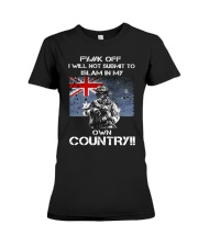 Fuck off I will not submit to islam in my own coun Premium Fit Ladies Tee thumbnail