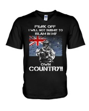 Fuck off I will not submit to islam in my own coun V-Neck T-Shirt thumbnail