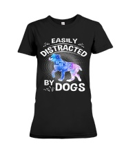 Easily distracted by Australian Shepherd dog  Premium Fit Ladies Tee tile