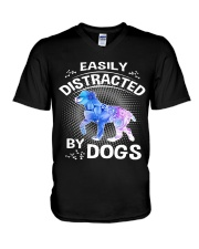 Easily distracted by Australian Shepherd dog  V-Neck T-Shirt tile