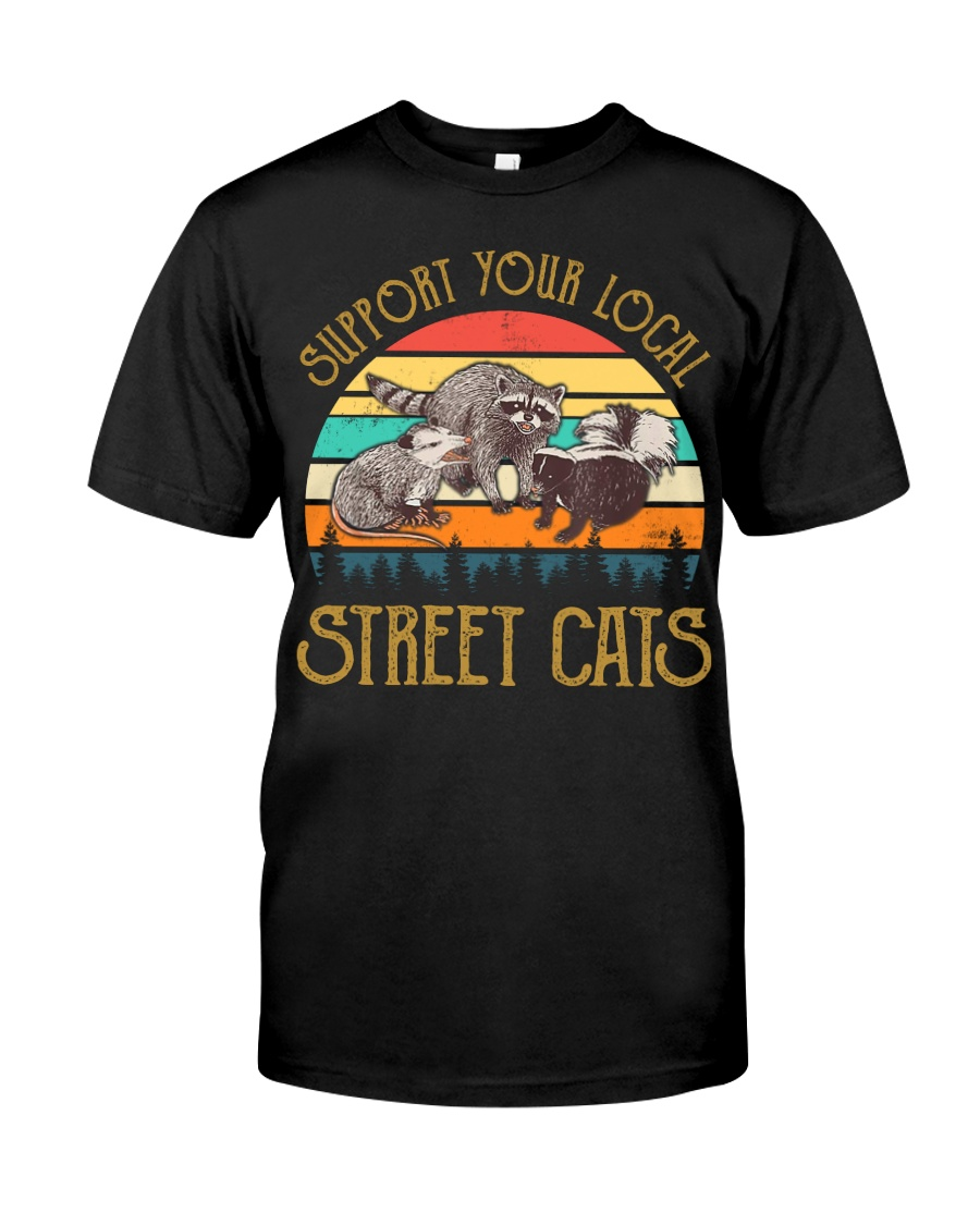 Vintage support your local street cats Premium Fit Mens Tee