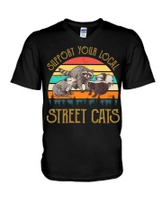 Vintage support your local street cats V-Neck T-Shirt thumbnail