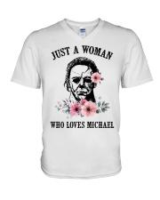 Just a woman who loves Michael V-Neck T-Shirt thumbnail