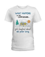 What happens at the campground gets laughed Ladies T-Shirt thumbnail