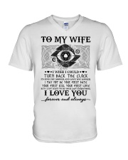 To my wife I wish I could turn back the clock  V-Neck T-Shirt thumbnail