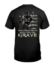 I Serve The Only King Who Conquered Death Hell Premium Fit Mens Tee thumbnail