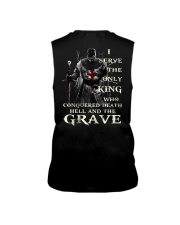 I Serve The Only King Who Conquered Death Hell Sleeveless Tee thumbnail