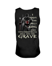 I Serve The Only King Who Conquered Death Hell Unisex Tank thumbnail