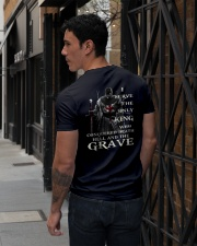 I Serve The Only King Who Conquered Death Hell V-Neck T-Shirt lifestyle-mens-vneck-back-1