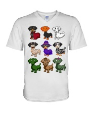 Dachshund happy Halloweiner  V-Neck T-Shirt thumbnail