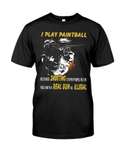 I play paintball because shooting people Premium Fit Mens Tee thumbnail