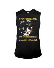 I play paintball because shooting people Sleeveless Tee thumbnail