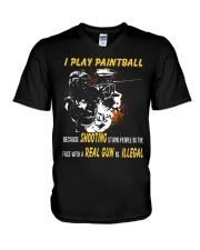 I play paintball because shooting people V-Neck T-Shirt thumbnail