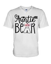 Auntie bear floral V-Neck T-Shirt thumbnail