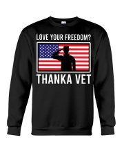 Love your freedom thank a vet Crewneck Sweatshirt thumbnail