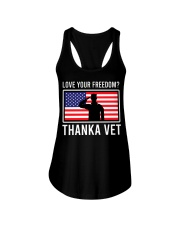 Love your freedom thank a vet Ladies Flowy Tank thumbnail