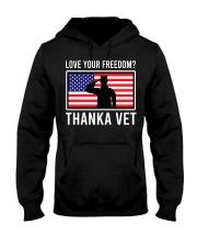 Love your freedom thank a vet Hooded Sweatshirt thumbnail