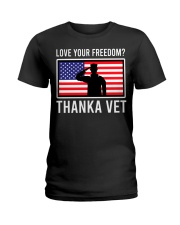 Love your freedom thank a vet Ladies T-Shirt thumbnail