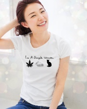 I'm a simple woman I like smoke pizza and cat Ladies T-Shirt lifestyle-holiday-womenscrewneck-front-1