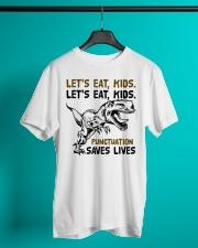 T-rex let eat kids punctuation saves lives Classic T-Shirt lifestyle-mens-crewneck-front-3