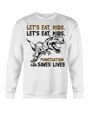T-rex let eat kids punctuation saves lives Crewneck Sweatshirt thumbnail