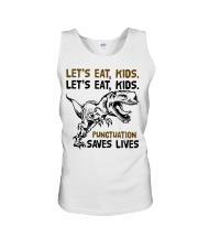 T-rex let eat kids punctuation saves lives Unisex Tank thumbnail