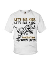 T-rex let eat kids punctuation saves lives Youth T-Shirt thumbnail