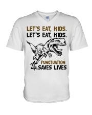 T-rex let eat kids punctuation saves lives V-Neck T-Shirt thumbnail