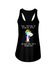 Unicorn back the fuck up sparkle tits or you Ladies Flowy Tank thumbnail