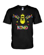 Autism awareness bee kind V-Neck T-Shirt thumbnail