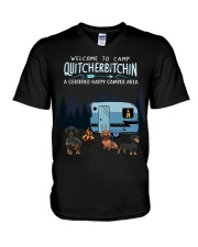 Welcome to camp Quitcherbitchin Dachshund dog  V-Neck T-Shirt thumbnail