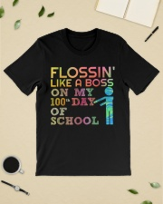 Flossin' like a boss on my 100th day of school  Premium Fit Mens Tee lifestyle-mens-crewneck-front-19