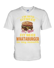 I'm into fitness fitness whataburger in my mouth V-Neck T-Shirt thumbnail