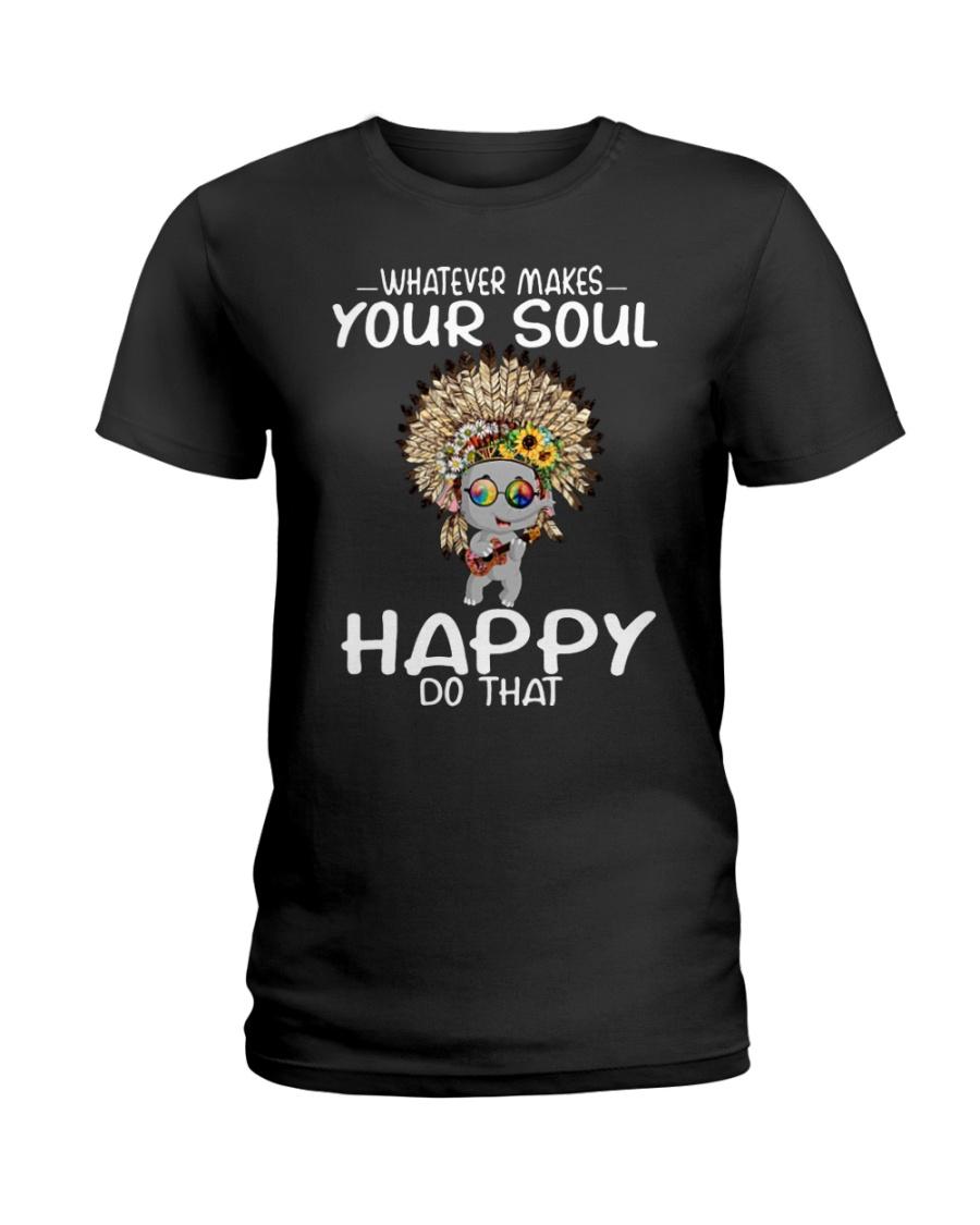 Elephant hippie peace whatever makes your soul Ladies T-Shirt