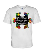 Autism don't judge what you don't understand V-Neck T-Shirt thumbnail