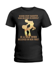 Behind every child who believes in himself is a da Ladies T-Shirt thumbnail