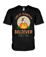 Great pumpkin believer since 1966  V-Neck T-Shirt thumbnail