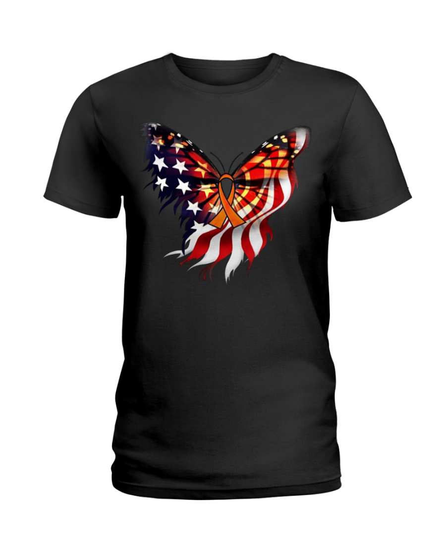 Orange butterfly ribbon Ladies T-Shirt