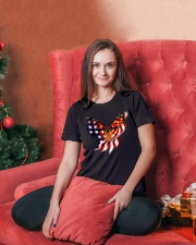 Orange butterfly ribbon Ladies T-Shirt lifestyle-holiday-womenscrewneck-front-2
