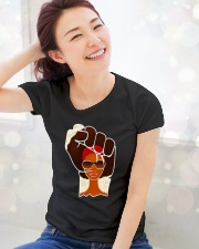 Black Afrocentric power Ladies T-Shirt lifestyle-holiday-womenscrewneck-front-1