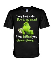 I may look calm but in my head i've killed you thr V-Neck T-Shirt thumbnail