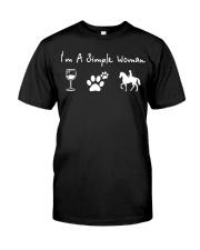 I'm a simple woman love wine flip dog and raise a  Premium Fit Mens Tee thumbnail