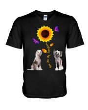 Chinese crested dog you are my sunshine  V-Neck T-Shirt thumbnail
