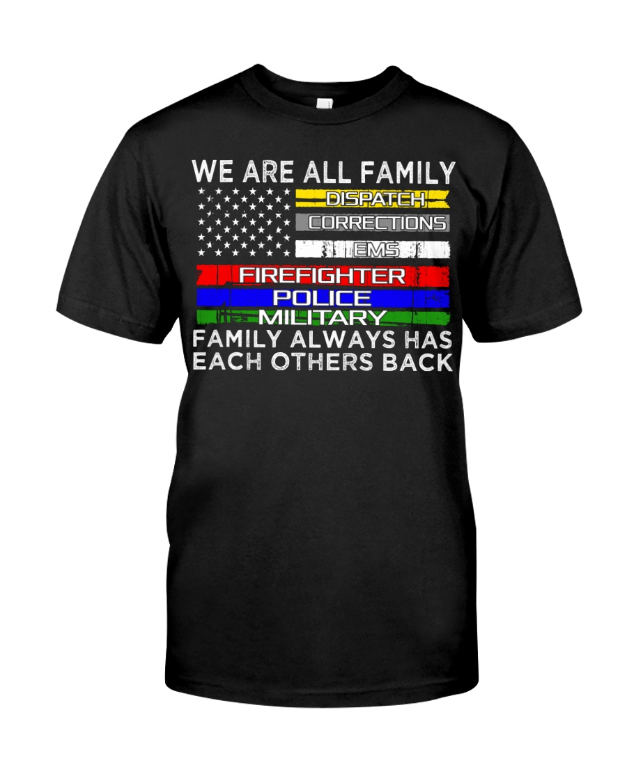We are all family dispatch corrections emt firefig Premium Fit Mens Tee