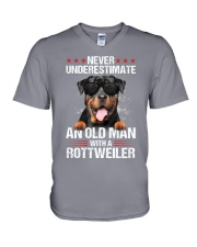 OLD MAN WITH ROTTWEILER V-Neck T-Shirt thumbnail