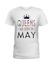 Queens Are Born in May Colorful Ladies T-Shirt thumbnail