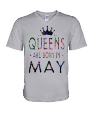 Queens Are Born in May Colorful V-Neck T-Shirt thumbnail